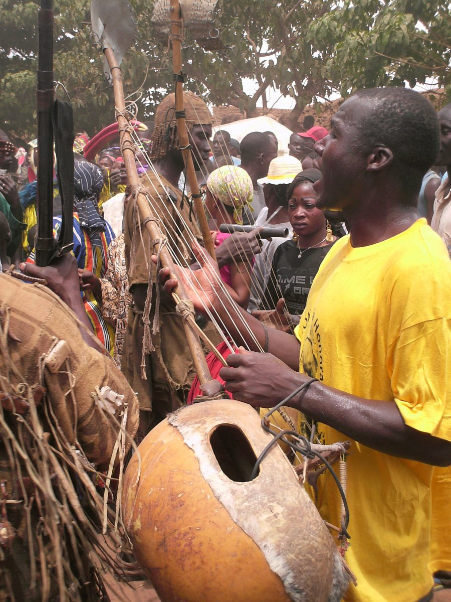 A Donso (hunter) performs at a mask festival in Bobo Dioulasso, Burkina Faso